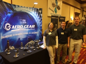 From l to r: Pam Cooper, Pat Brueckner, Kevin Mackstutis – three young engineers at Aero Gear manning the booth at the ACM Workforce Opportunity Fair